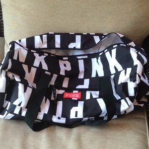 PINK black/white duffle bag with late pink letters
